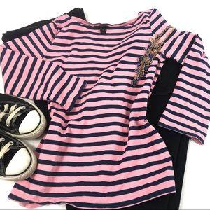 J. Crew Striped Boatneck Pink Blue Knit Shirt XS